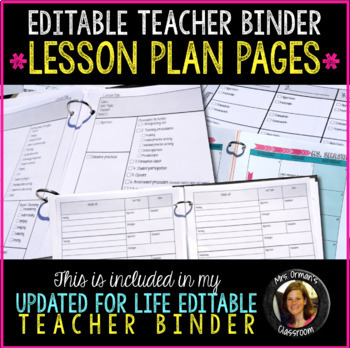 Editable Teacher Binder Lesson Plan Templates