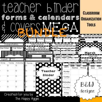 Teacher Binder MEGA Bundle: Forms, Calendars, & Covers (B&W)