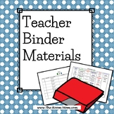 Teacher Binder Materials-- Logs, Class News, Curriculum Templates (freebie)