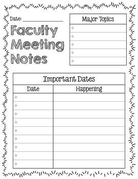 Teacher Binder: Meeting Notes