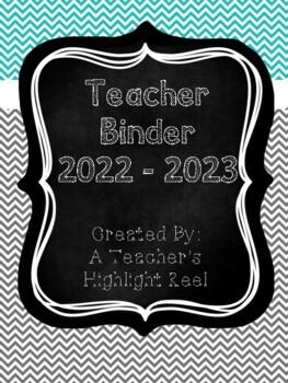 Teacher Binder - Mission Organization Chalkboard & Gray/Teal Chevron