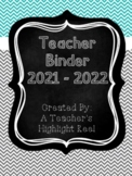 Teacher Binder - Mission Organization Chalkboard & Gray/Teal Chevron