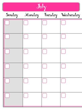 Teacher Binder. Notebook. Calendar Pages. 12 Months.