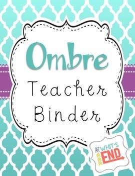 Teacher Binder, OMBRE Style! {Editable} Custom Printables