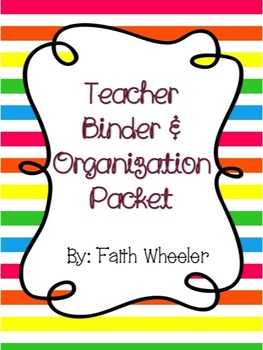 Editable Teacher Binder & Organization Packet (Horizontal Stripes)