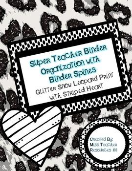 Teacher Binder Organization - Snow Leopard Glitter Print with Binder Spines