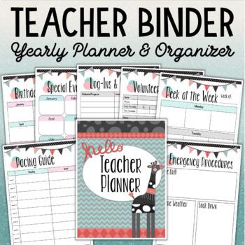 TEACHER BINDER Yearly Planner and Organizer