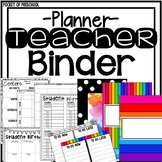 Bright, Rainbow Design Teacher Binder