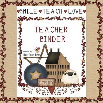 Teacher Binder in PRIMITIVE COUNTRY