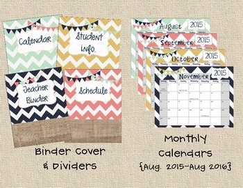 Teacher Binder Pack {with monthly & weekly calendars}