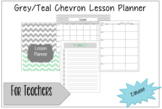 Teacher Lesson Planner-Grey/Teal Chevron