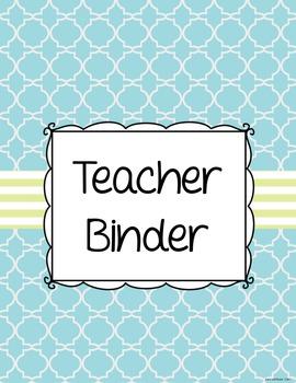 Editable Teacher Binder (Blue & Green)