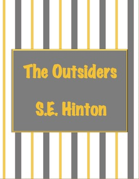 Teacher Binder Pages- The Outsiders or Other: Grey and Gol