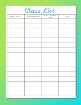 Teacher Binder Pages/Substitute Notes