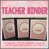 Editable Teacher Binder { Pink Bokeh } - Ultimate Teacher Survival Binder