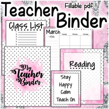 Teacher Binder Pink Polka Dot Set Planner Organizer