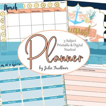 Teacher Planner Calendar, for Secondary Teachers with Mult