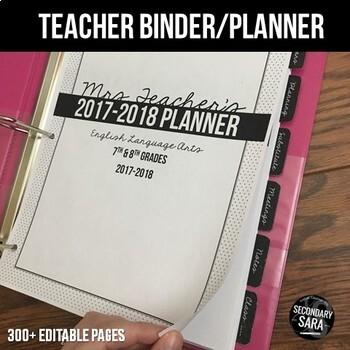 Teacher Binder/Planner {EDITABLE}: Classic & Preppy, Black & White Chic