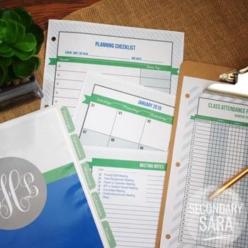 Teacher Binder/Planner {EDITABLE}: Classic & Preppy, Blue & Green Chic