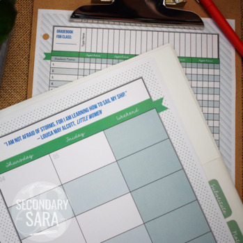 Teacher Binder/Planner {EDITABLE}: Classic & Preppy, Blue & Green Chic
