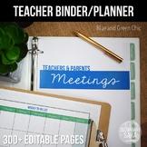 Teacher Binder {EDITABLE}: Classic & Preppy, Blue & Green Chic (2019-20)