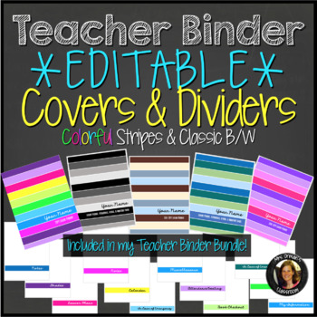 Teacher Binder Planner Editable Cover Pages and Dividers Colorful Stripes