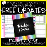 Teacher Binder and Planner Editable :: Free Updates (Rainb