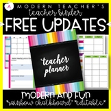 Teacher Binder and Planner Editable :: Free Updates (Rainbow Chalkboard)