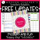 Teacher Binder and Planner Editable :: Free Updates - Happy Day Theme