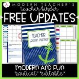 Teacher Binder and Planner Editable : Free Updates - Nautical Theme