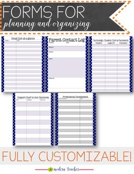 Teacher Binder and Planner Editable : Free Updates - Nautical Theme