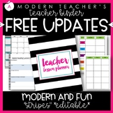 Teacher Binder and Planner Editable :: Free Updates - Stripes Theme