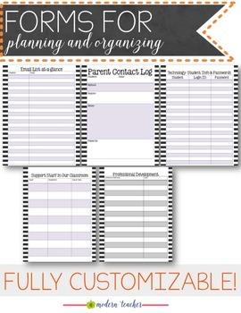 Teacher Binder and Planner Editable :: Free Updates - Stripes Theme