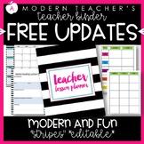 Teacher Binder Teacher Planner Editable :: Free Updates Stripes Theme