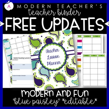 Teacher Binder and Planner Editable :: Free Updates (Blue
