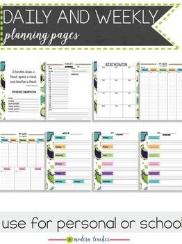 Teacher Binder and Planner Editable :: Free Updates - Blue Paisley Theme