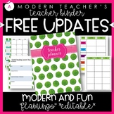 Teacher Binder and Planner Editable :: Free Updates - Flamingo Watercolor Theme