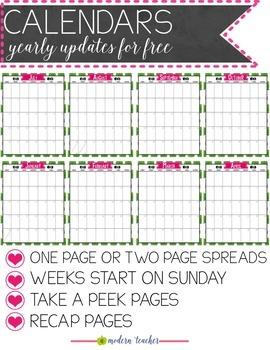 Teacher Binder and Planner Editable : Free Updates - Flamingo Theme