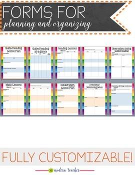 Teacher Binder and Planner Editable Free Updates - Happy Rainbow Sale