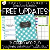 Teacher Binder and Planner Editable Free Updates -Sunshine Theme