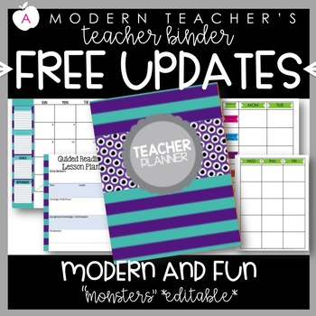 Teacher Binder and Planner Editable :: Free Updates - Monster Theme