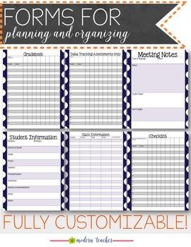 Teacher Binder and Planner Editable :: Free Updates Navy Polka Dots Theme