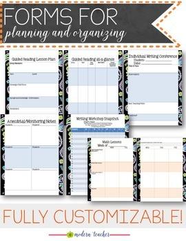 Teacher Binder and Planner Editable :: Free Updates - Purple Paisley