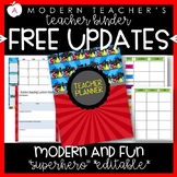 Teacher Binder and Planner Editable :: Free Updates - Superhero Theme
