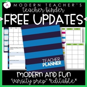 Teacher Binder and Planner Editable :: Free Updates - Varsity Prep Theme