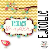 Teacher Binder & Planner Pack! *Chevron & Bird Themed* {Editable!}