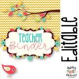 Teacher Binder & Planner Pack! *Chevron & Boho Bird Themed* {Editable!}