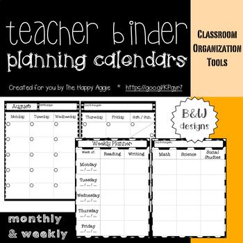 Teacher Binder: Planning Calendars (B&W)