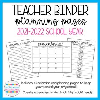 Teacher Binder Planning Pages (Printer Friendly; 2018-2019 School Year)