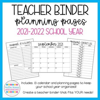 Teacher Binder Planning Pages (Printer Friendly; 2019-2020 School Year)